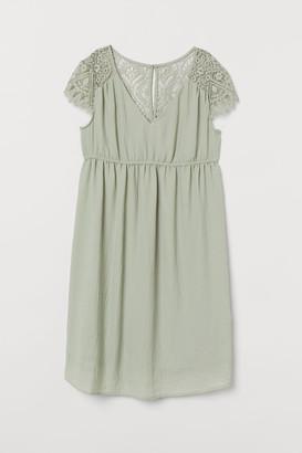 H&M MAMA Lace-yoke Dress - Green