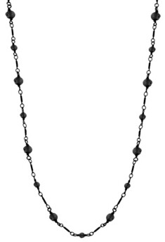 Downton Abbey Hematite Color Long Link Faceted Necklace