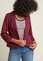 Prowling around for an ensemble so epic it'll be remembered aeons from its debut? This burgundy blazer from our ModCloth namesake label should do the trick! Made from stretch-cotton twill, this patch-pocketed, crop-sleeved wonder is embroidered with petit