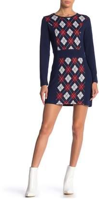 Papillon Crew Neck Long Sleeve Sweater Dress