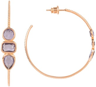 Latelita Venice Gemstone Hoop Earring Rose Gold Amethyst