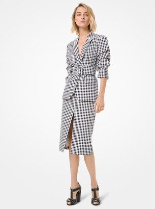 Michael Kors Gingham Cotton Slit-Front Pencil Skirt