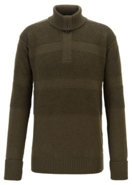 Zip-neck troyer sweater with structured block stripes