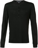 John Varvatos reverse print V-neck sweater - men - Cotton - S