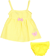 Sweet & Soft Yellow Butterfly Seersucker A-Line Dress & Diaper Cover - Infant