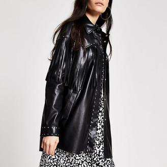 River Island Black faux leather fringe studded jacket