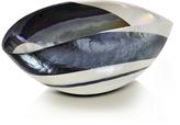 Yalos Murano Cartoccio - Small Black and Mother of Pearl Swirl Murano Glass Folded Bowl