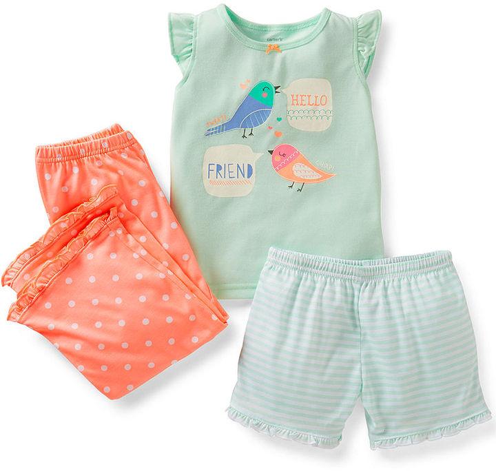 Carter's Baby Girls' 3-Piece Shirt, Shorts & Pants Pajama Set