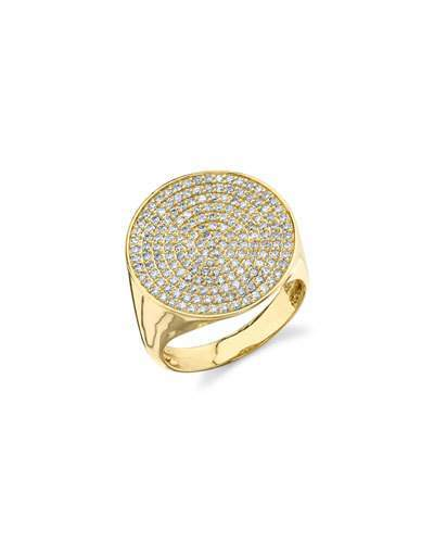 Sydney Evan Pave Diamond Signet Ring, Size 6.5