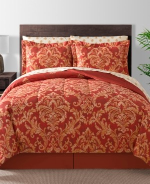 Fairfield Square Collection Golden Damask 8-Pc. Reversible Queen Comforter Set Bedding