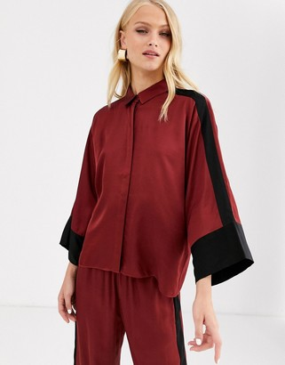 InWear Tory sateen colourblock shirt