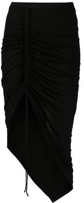 Helmut Lang Drawstring Asymmetric Ruched Skirt