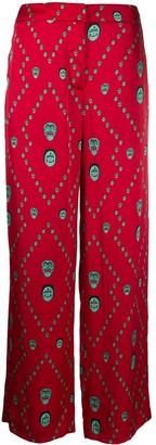 Kirin Mask Print Wide Leg Trousers