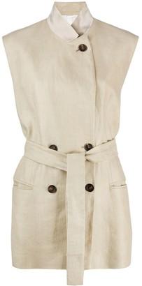 Brunello Cucinelli Sleeveless Linen Trench Coat
