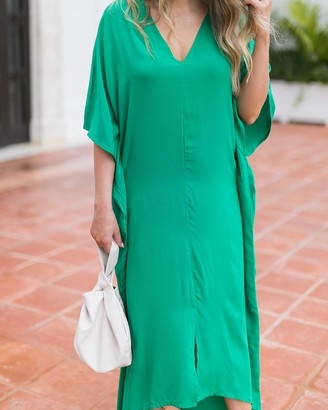 The Drop Women's Emerald Front Slit Kaftan by @graceatwood XXL