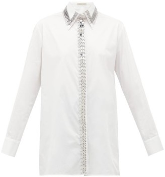 Christopher Kane Chain And Crystal-trimmed Poplin Shirt - Womens - White