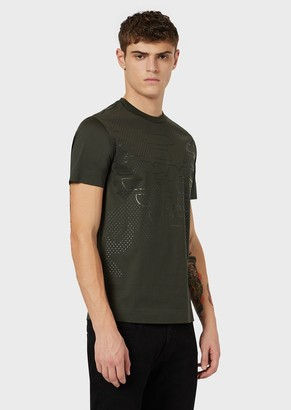 Emporio Armani Mercerised-Jersey T-Shirt With Oversized Stencilled Eagle And Micro Studs