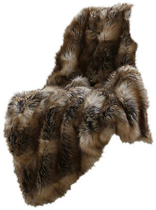 """Best Home Fashion Luxe Faux Fur Throw Blanket, Amber Fox, 58""""x36"""""""