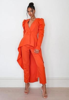 Missguided Orange Co Ord Waterfall Hem Puff Sleeve Blazer