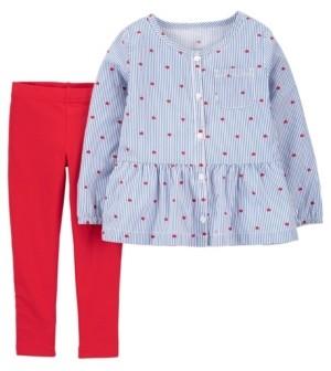 Carter's Toddler Girls Heart Top and Legging Set, 2 Piece