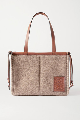 Loewe Cushion Small Leather-trimmed Felt Tote - Brown