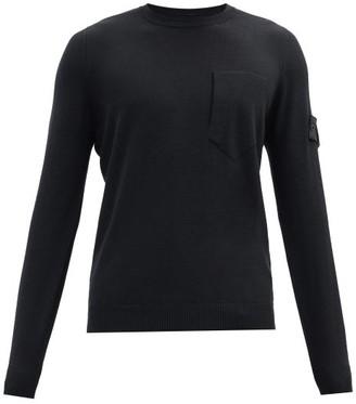 Stone Island Shadow Project Logo-patch Wool-blend Sweater - Black