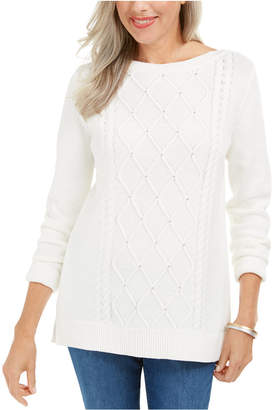 Karen Scott Cable-Knit Beaded Sweater