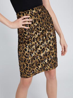 Alice + Olivia Ramos Sequin Leopard Midi Skirt