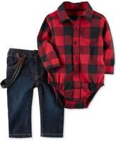 Carter's 3-Pc. Plaid Bodysuit, Suspenders & Jeans Set, Baby Boys (0-24 months)