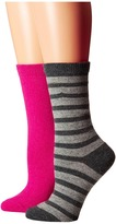 Kate Spade Cashmere Stripe Sparkle Gifting 2-Pack Crew in Box Women's Crew Cut Socks Shoes