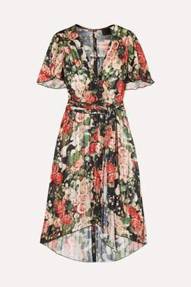 Anna Sui Asymmetric Pleated Floral-print Satin Dress - Green