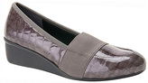 Ros Hommerson Gray Croc Patent Stretch Erica Leather Wedge