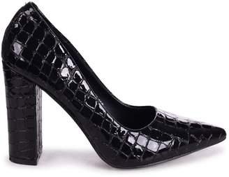 Tiffany & Co. Linzi Black Croc Patent Block High Heel Heel Court Shoe