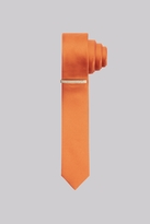 Moss Bros Orange Skinny Tie With Tie Pin