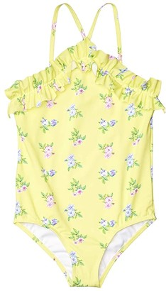 Janie and Jack Floral One-Piece Swim (Toddler/Little Kids/Big Kids) (Yellow) Girl's Swimsuits One Piece
