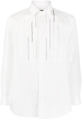 Issey Miyake Folded Collar Pleated Bib Shirt