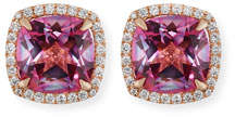 Frederic Sage 18K White Gold Pink Topaz Diamond Halo Stud Earrings