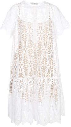 Oscar de la Renta Diamond Eyelet shirt dress