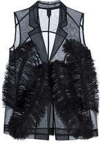 Vera Wang ostrich feather sheer waistcoat