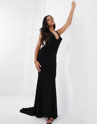 Club L London Club L slinky cowl neck maxi dress in black