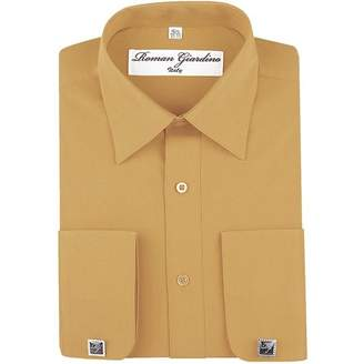 Roman Giardino Men's Dress Shirts Convertible Long Sleeve Regular Size Botton Down Collar Solid Colors with Free Cufflinks