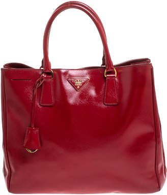 Prada Red Saffiano Patent Leather Medium Gardener's Tote