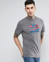 Patagonia T-shirt With Wave Print In Regular Fit Grey