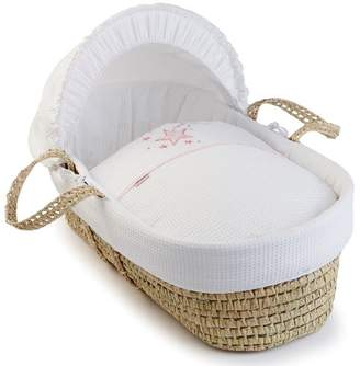 Clair De Lune Stardust Palm Moses Basket inc. Bedding, Mattress & Adjustable Hood