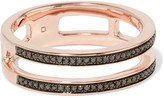 Monica Vinader Skinny Double Band Rose Gold Vermeil Diamond Ring - K