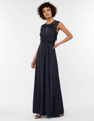 Under Armour Yasmeen Lace Jersey Maxi Bridesmaid Dress Blue