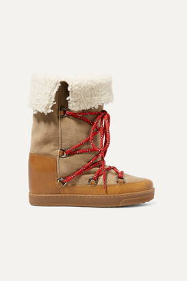 Isabel Marant Nowly Shearling-lined Textured-leather And Suede Snow Boots - Tan