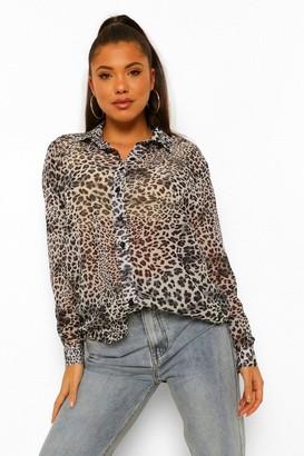 boohoo Leopard Print Chiffon Oversized Sheer Shirt