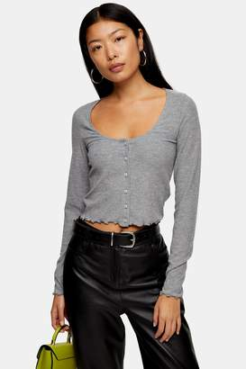 Topshop Womens Tall Grey Long Sleeve Button Top - Grey