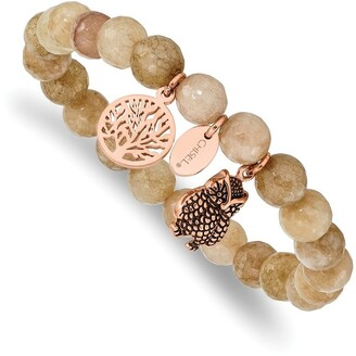 Chisel Stainless Steel Antiqued and High Polished Rose IP-plated Owl Taupe Dyed Jade Stretch Bracelet